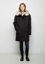 Army By Yves Salomon Coyote Fur-Lined Cotton Parka