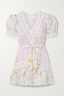 LoveShackFancy Belen Crochet-trimmed Floral-print Broderie Anglaise Cotton Mini Dress - White