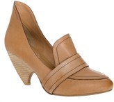 Max Studio Brut Waxed Leather Scooped Wedge Loafers