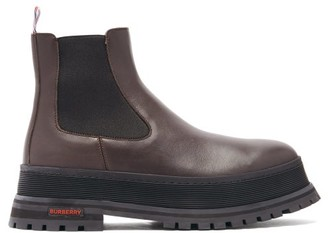 Burberry Jeffrey Raised-sole Leather Chelsea Boots - Brown