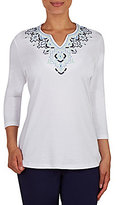 Allison Daley Petite Embroidered Notch V-Neck 3/4 Sleeve Solid Knit Top
