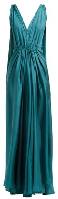 Kalita Clemence Gathered Silk-habotai Maxi Dress - Womens - Green