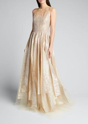 Oscar de la Renta Metallic-Stripe Embroidered Tulle Gown