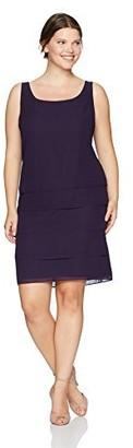 Le Bos Women's Plus Size 2 PC Sequin Poncho Dress