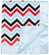 "MyBlankee My Blankee Chevron Minky Multi Red w/ Minky Dot Blue Baby Blanket, 30"" x 35"""