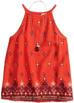 Mudd Girls 7-16 & Plus Size Crochet Trim Tank Top with Necklace