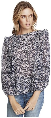 1 STATE Long Sleeve Lace Inset Wildflower Bouquet Blouse (Moonshade Multi) Women's Clothing