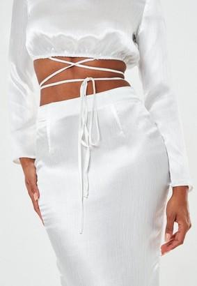 Missguided White Satin Wrap Belt Cut Out Maxi Wedding Dress