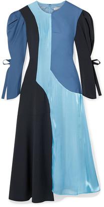 REJINA PYO Tanika Color-block Paneled Satin, Wool And Wool-blend Midi Dress