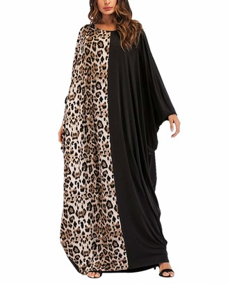 KRUIHAN Women Casual Maxi Dress Abaya - Lady Plus Size Loose Cocktail Party Gown Black