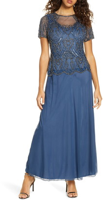 Pisarro Nights Embellished Mesh Mock Two-Piece Gown
