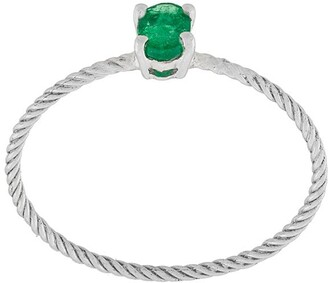 Wouters & Hendrix Gold Emerald rope solitaire ring