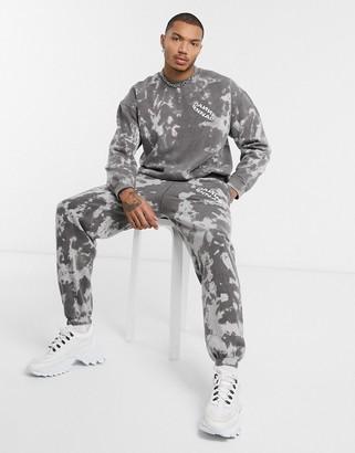 Mennace tie dye jogger with print in grey-Black