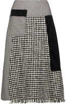Raoul Fringed paneled wool-blend tweed, velvet and houndstooth skirt