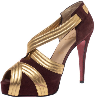 Christian Louboutin Burgundy/Gold Suede And Leather Criss Cross Strap Peep Toe Platform Pumps Size 40.5