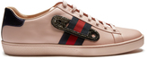 Gucci New Ace safety-pin leather trainers