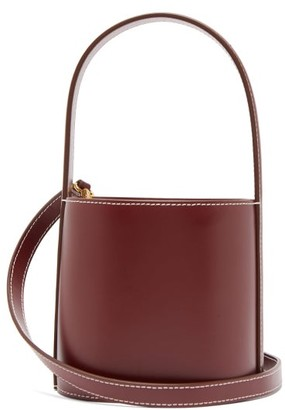 STAUD Bisset Topstitched Leather Bucket Bag - Womens - Burgundy