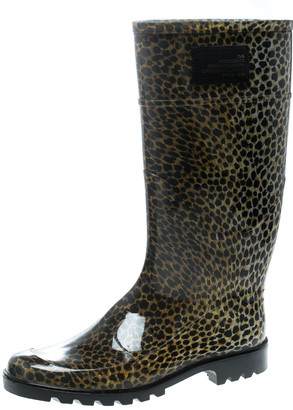 Dolce & Gabbana Animal Print Rubber Boots Size 41
