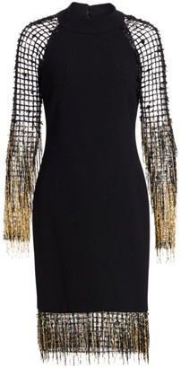 Pamella Roland Fringe Net Crepe Cocktail Dress