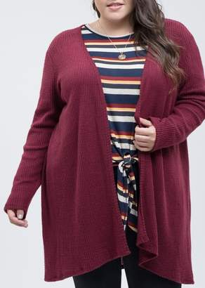 Blu Pepper Waffle Knit Cardigan (Plus Size)