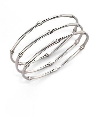 John Hardy Bamboo Sterling Silver Slim Bangle Bracelet Set