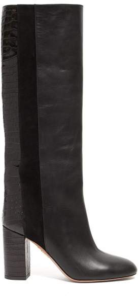 25cc132537f Eaton 85 Croc Embossed Knee High Leather Boots - Womens - Black