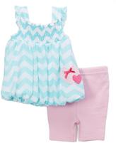 Bon Bebe Blue Zigzag Bubble Dress & Pink Capri Pants