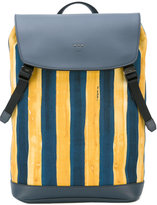Fendi watercolour striped backpack - men - Cotton/Leather - One Size