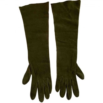 Christian Dior Khaki Leather Gloves