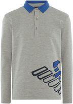 Armani Junior Boys Big Eagle Logo Long Sleeve Polo