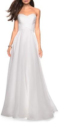 La Femme Strapless Metallic Organza Gown