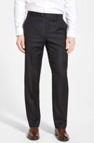 Hickey Freeman Men's Classic B Fit Flat Front Wool Trousers