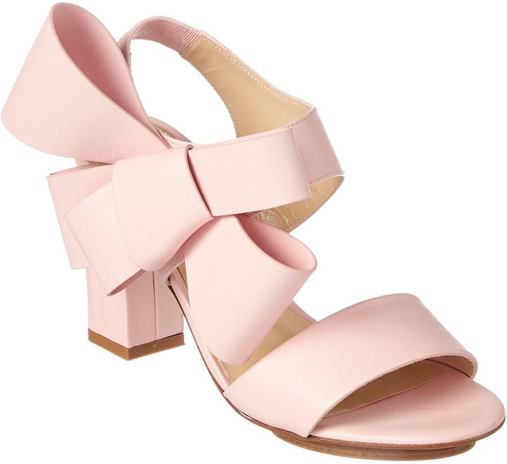 DELPOZO Oversized Bow Leather Sandal