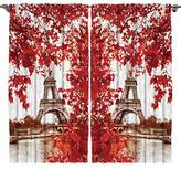 Paris Decor by Ambesonne, 108 X 84 Inches, Eiffel Tower France European Design, Silky Satin Window Treatments, Bedroom Living Dining Kids Girls Boys Room Curtain 2 Panels Set, Red Beige Brown