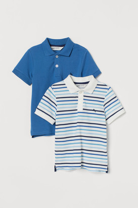 H&M 2-pack Cotton Polo Shirts - Blue