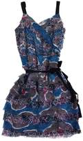 Walter Blue & Pink Floral Print Tier Dress