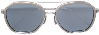 Thom Browne Eyewear Oval Metal Frame Detail Sunglasses