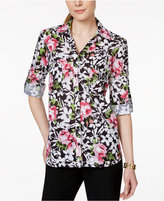 NY Collection Floral-Print Utility Shirt