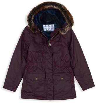Barbour Little Girl's & Girl's Faux Fur Trim Hooded Parka