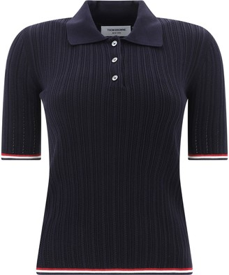 Thom Browne Ribbed Short-Sleeve Polo Shirt