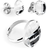 Body Candy Clear Round Adjustable Ring and Stud Earring Set