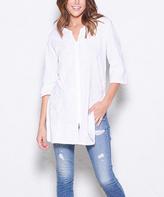Paparazzi White Embroidered Three-Quarter Sleeve Tunic