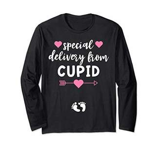 Valentines Day Pregnancy Announcement Couples Matching Cupid Long Sleeve T-Shirt