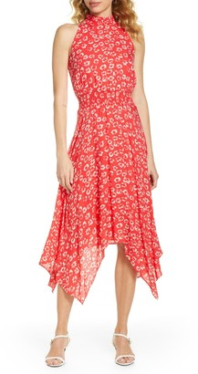 Sam Edelman Smocked Floral Handkerchief Hem Midi Dress
