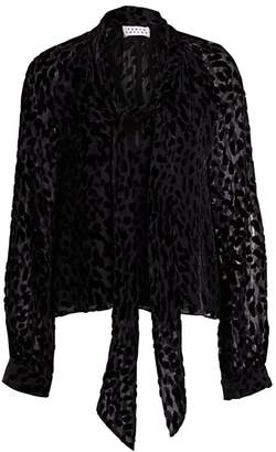Tanya Taylor Giovanna Sheer Leopard Stretch-Silk Tieneck Blouse
