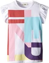 Fendi Ruffle Sleeve Top w/ Graphic Logo Design Girl's Clothing