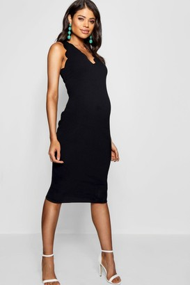 boohoo Maternity Scalloped Edge Midi Dress