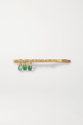 EJING ZHANG Dante Gold-plated, Resin And Crystal Hair Slide - Green