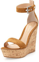 Gianvito Rossi Ankle-Wrap Platform Wedge, Brown