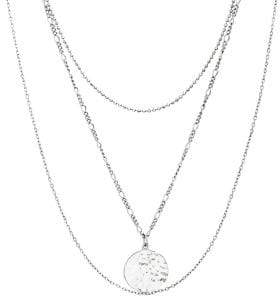 Lord & Taylor Rhodium-Plated Sterling Silver Hammered Disc Multi-Strand Necklace